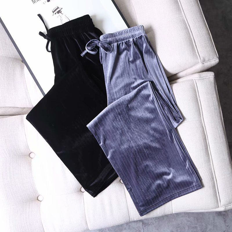 velvet wide leg pants women's long pants high waist loose comfortable casual pants  NHAM261590