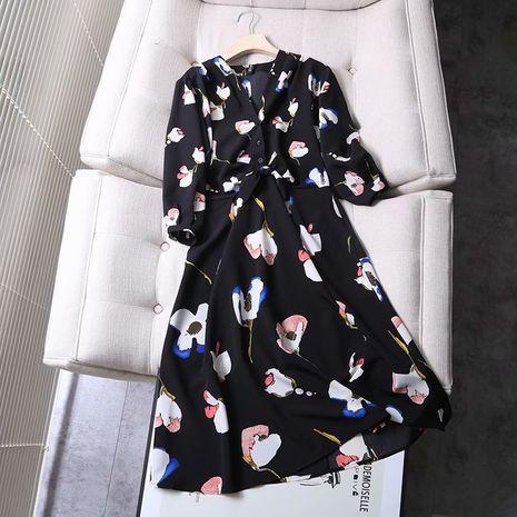 wholesale vestido de estampado floral con decoración de lazo nuevo en caliente NHAM261591's discount tags