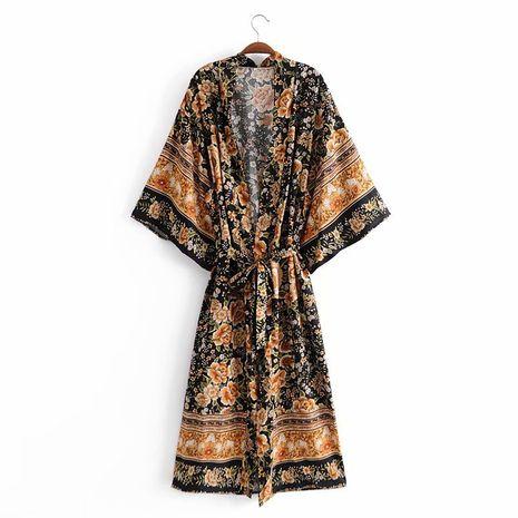 Al por mayor nuevo vestido de kimono con cinturón de flores de posicionamiento de rayón NHAM261597's discount tags