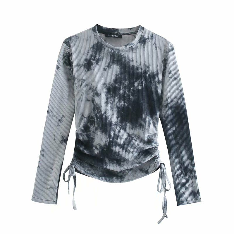 new  longsleeved bottoming tiedye drawstring womens Tshirt top  NHAM261599