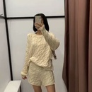 cream color pullover cable knit  ladies long sleeve loose sweater  NHAM261619