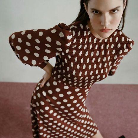 Otoño al por mayor nuevo vestido de manga larga a media pierna de lunares para mujer NHAM261621's discount tags