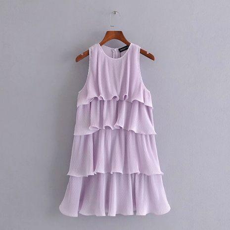 Al por mayor nueva decoración laminada pequeño vestido plisado sin mangas. NHAM261623's discount tags