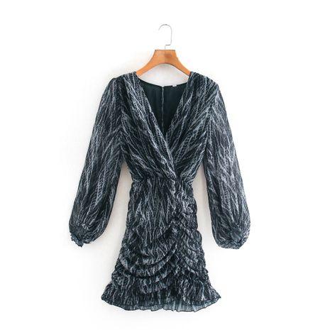 wholesale nuevo vestido plisado con cuello en V y estampado de serpiente para mujer en caliente NHAM261629's discount tags