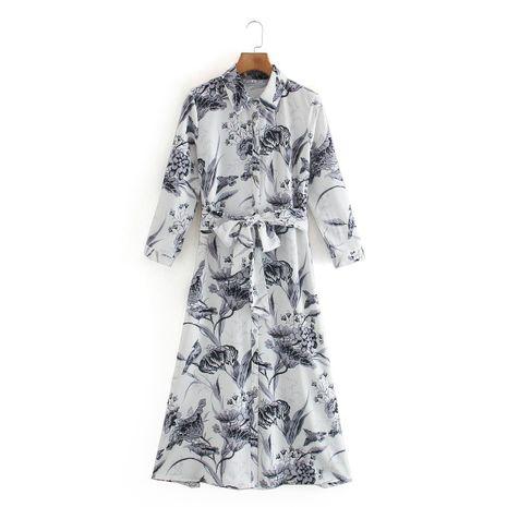 wholesale vestido de camisa slim fit con cinturón estampado nuevo otoño para mujer NHAM261636's discount tags