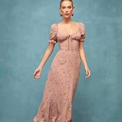 Al por mayor vestido de corbata con estampado floral de cintura alta retro nuevo otoño NHAM261638's discount tags