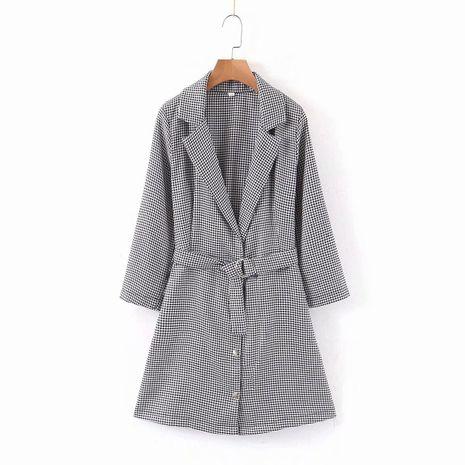 wholesale vestido de cinturón con hebilla de metal con cuello de traje de otoño para mujer nueva NHAM261640's discount tags
