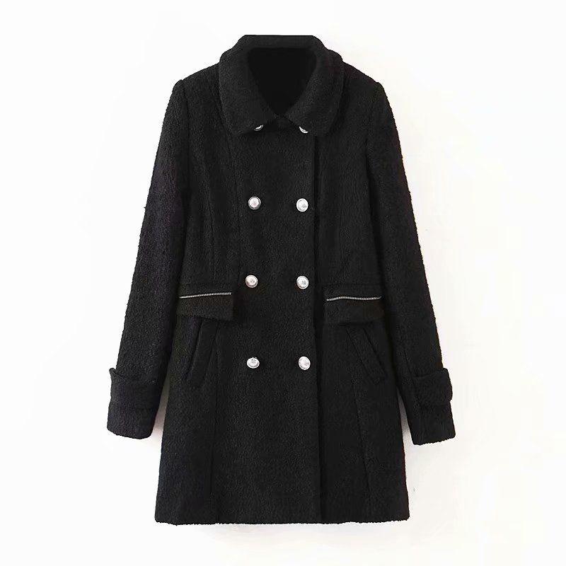 wholesale new retro doublebreasted woolen coat slim coat midlength coat  NHAM261643
