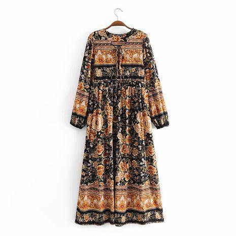 wholesale nuevo vestido bohemio de manga larga con flores de posicionamiento de rayón NHAM261649's discount tags