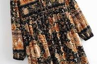 wholesale new  rayon positioning flower long sleeve bohemian dress  NHAM261649