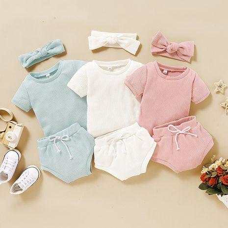 nuevo conjunto de dos piezas de manga corta de algodón para niñas, traje coreano para niños NHLF261653's discount tags