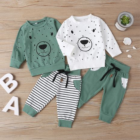 new bear two-piece boy pure cotton long-sleeved T-shirt trendy casual suit NHLF261654's discount tags