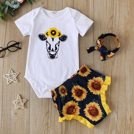 Nueva camiseta del bebé de la historieta de la impresión de la manga corta del algodón del traje del bebé de la moda NHLF261657's discount tags