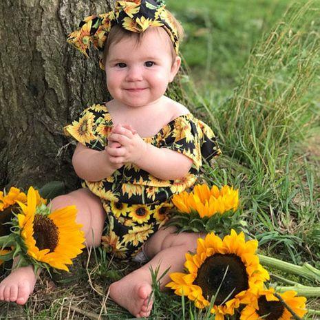 Nuevos onesies para bebés impresos moda cuello de hoja de loto mameluco para bebés ropa de salida al por mayor venta caliente NHLF261658's discount tags