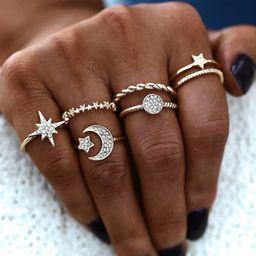 conjunto de anillos de seis piezas de tres estrellas de metal salvaje de moda NHSC261950