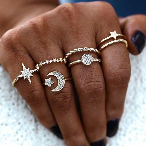 fashion metal wild three-star six-piece ring set  NHSC261950's discount tags