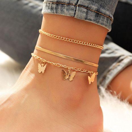 bracelet de cheville en trois pièces avec chaîne de serpent en métal NHSC261947's discount tags