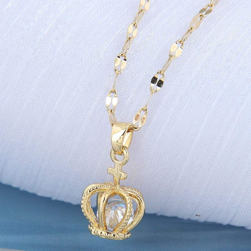 Korean fashion  crown personality necklace  NHSC261943