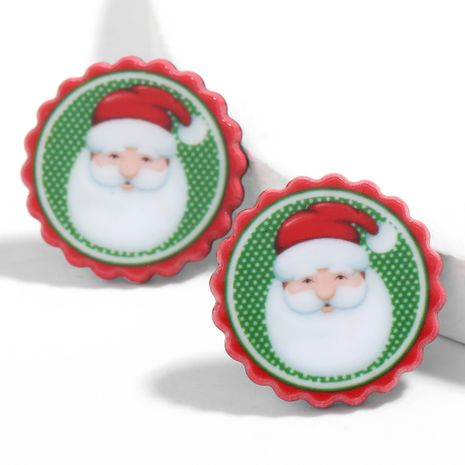 Christmas series round resin Santa Claus earrings  NHJE261688's discount tags
