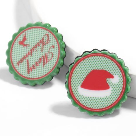 Christmas series round resin Christmas English hat pattern earrings NHJE261692's discount tags
