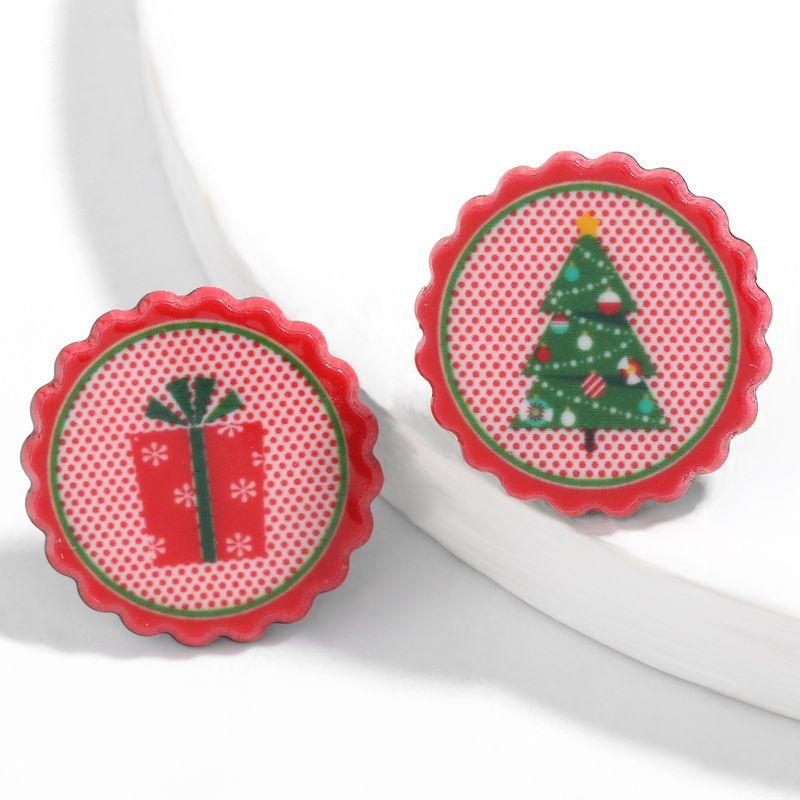 Christmas tree gift box pattern earrings  NHJE261693