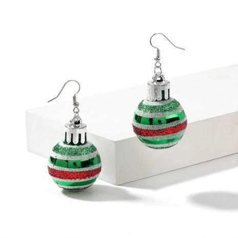 Christmas Series Creative Green Striped Light Ball Shaped Earrings  NHJE261696's discount tags