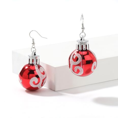 Christmas series creative resin red ball white pattern lamp ball earrings NHJE261697's discount tags