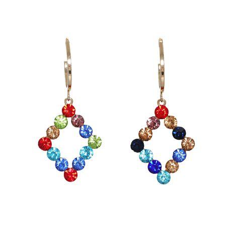 Korean new fashion wild full diamond geometric diamond artificial crystal earrings  NHJJ261700's discount tags