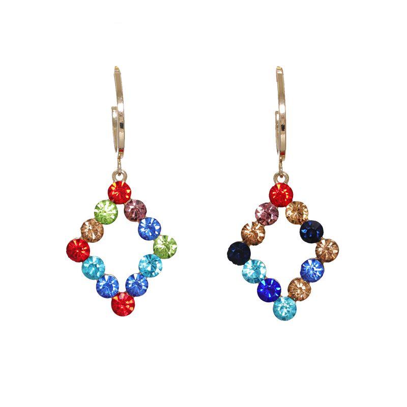 Korean new fashion wild full diamond geometric diamond artificial crystal earrings  NHJJ261700