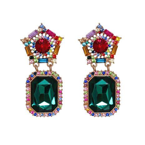 Korean new fashion wild glass diamond geometric round exaggerated  earrings  NHJJ261701's discount tags