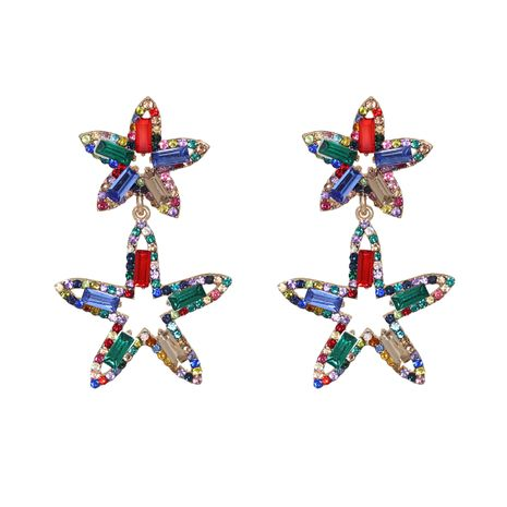 Korean new fashion wild full diamond five-pointed star artificial crystal star earrings NHJJ261702's discount tags