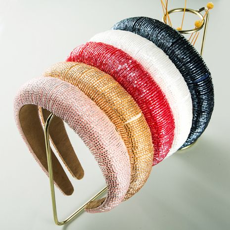 new fashion  glass rice beads hand-stitched fabric headband  NHLN261732's discount tags