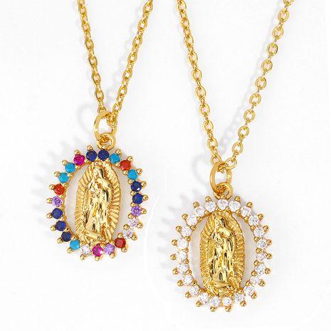 Collier pendentif en cuivre géométrique Vierge Marie religieuse pour femme NHAS261742's discount tags