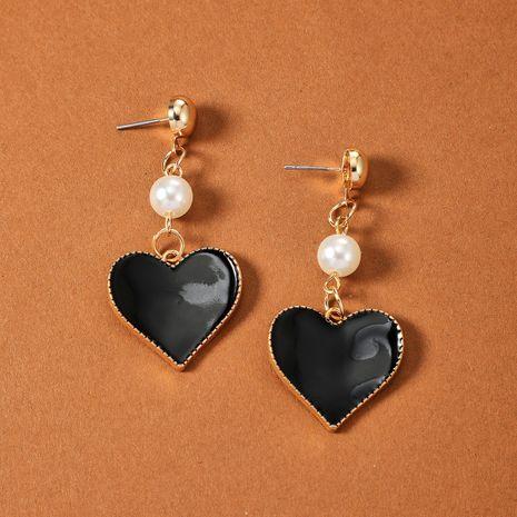 Nuevos pendientes en forma de corazón de amor de aceite de gota de aleación de perlas NHGY261766's discount tags