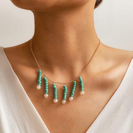 nouvelle mode simple style ethnique sauvage vert perle de riz perle collier de perles à la main NHGY261767's discount tags