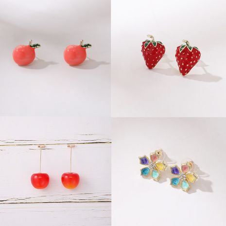 cerezas dulces cereza flor de fresa pendientes creativos NHGY261775's discount tags
