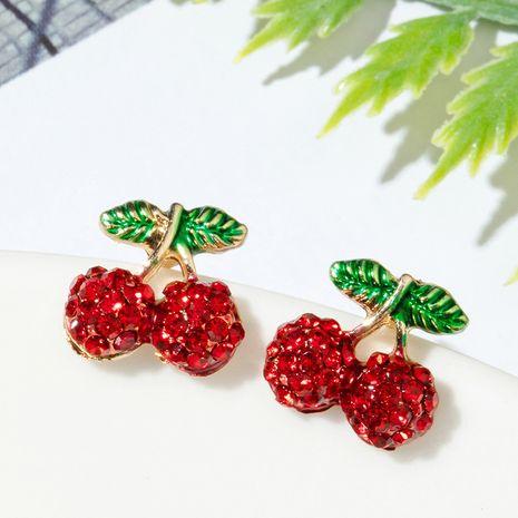 Korean cute  cherry fashion diamond earrings for women NHGY261778's discount tags