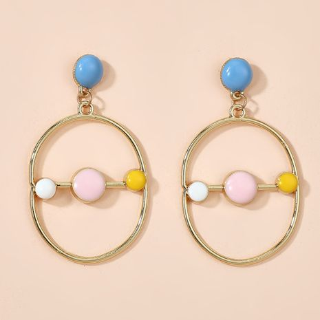 cute fresh color  geometric round earrings  NHGY261785's discount tags