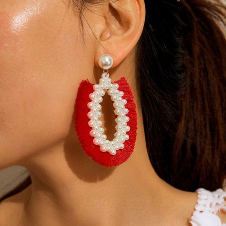 bohemian style tassel  fashion simple pearl earrings  NHGY261786's discount tags