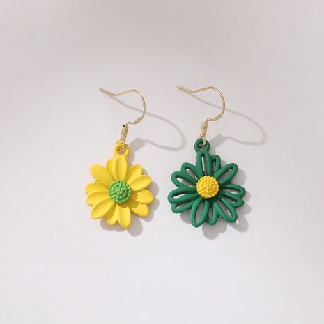 new  asymmetrical contrast color small daisy earrings  NHGY261788's discount tags