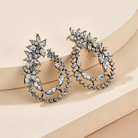 exaggerated alloy  retro baroque creative drop-shaped diamond flower stud earrings NHGY261793's discount tags