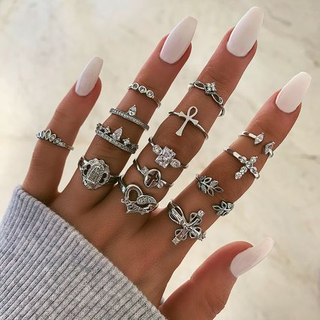 new leaf love-shaped fashion all-match diamond cross joint ring 14-piece set NHGY261803's discount tags