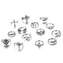 new leaf loveshaped fashion allmatch diamond cross joint ring 14piece set NHGY261803