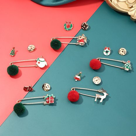 retro  fashion trend alloy dripping oil Elk Christmas tree bell brooch  NHNZ261810's discount tags