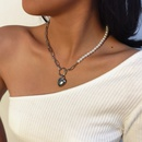 fashion simple pearl clavicle trendy alloy heartshaped necklace for women NHXR261818