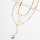 fashion new simple multilayer clavicle alloy retro heartshaped necklace set for women NHXR261821