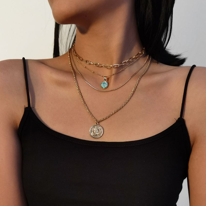 fashion simple suit clavicle turquoise exaggerated alloy necklace for women NHXR261822