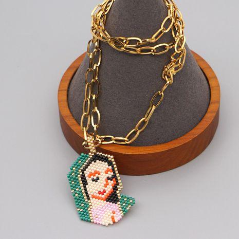 religion Vierge Marie câlin Jésus style ethnique perles de riz tissé à la main collier en acier titane NHGW261825's discount tags