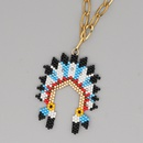 Fashion ethnic style Indian chief stainless steel gold rice bead woven handmade necklace  NHGW261826