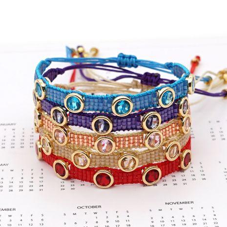 Fashion diamond gemstone 3 rows rice bead woven handmade bracelet  NHGW261828's discount tags